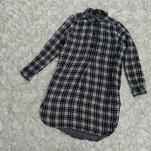 Madewell black and white checkered cotton dress L